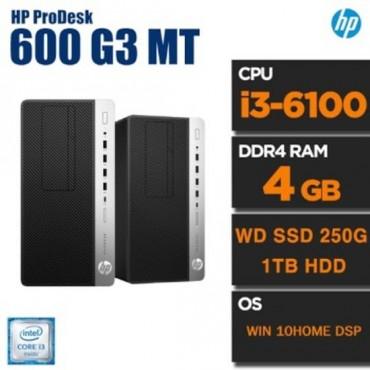 [HP] HP HP Prodesk 600 G3 MT i3-6100 4GB /WD SSD250GB/1TB WIN 10HOME DSP개봉설치